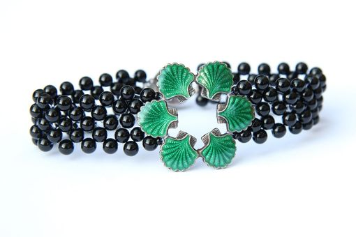 Custom Made Hand Woven Green Enamel Sea Shell Bracelet With Black Onyx Beads