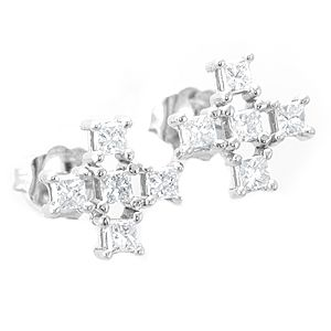 Custom Made Princess Diamond Stud Earrings In 14k White Gold, Mini Cross Earrings, Stud Earrings