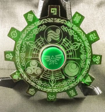 Custom Made Legend Of Zelda Gate Of Time Green Translucent Acrylic Laser Cut Fidget Spinner For Kids Or Adults