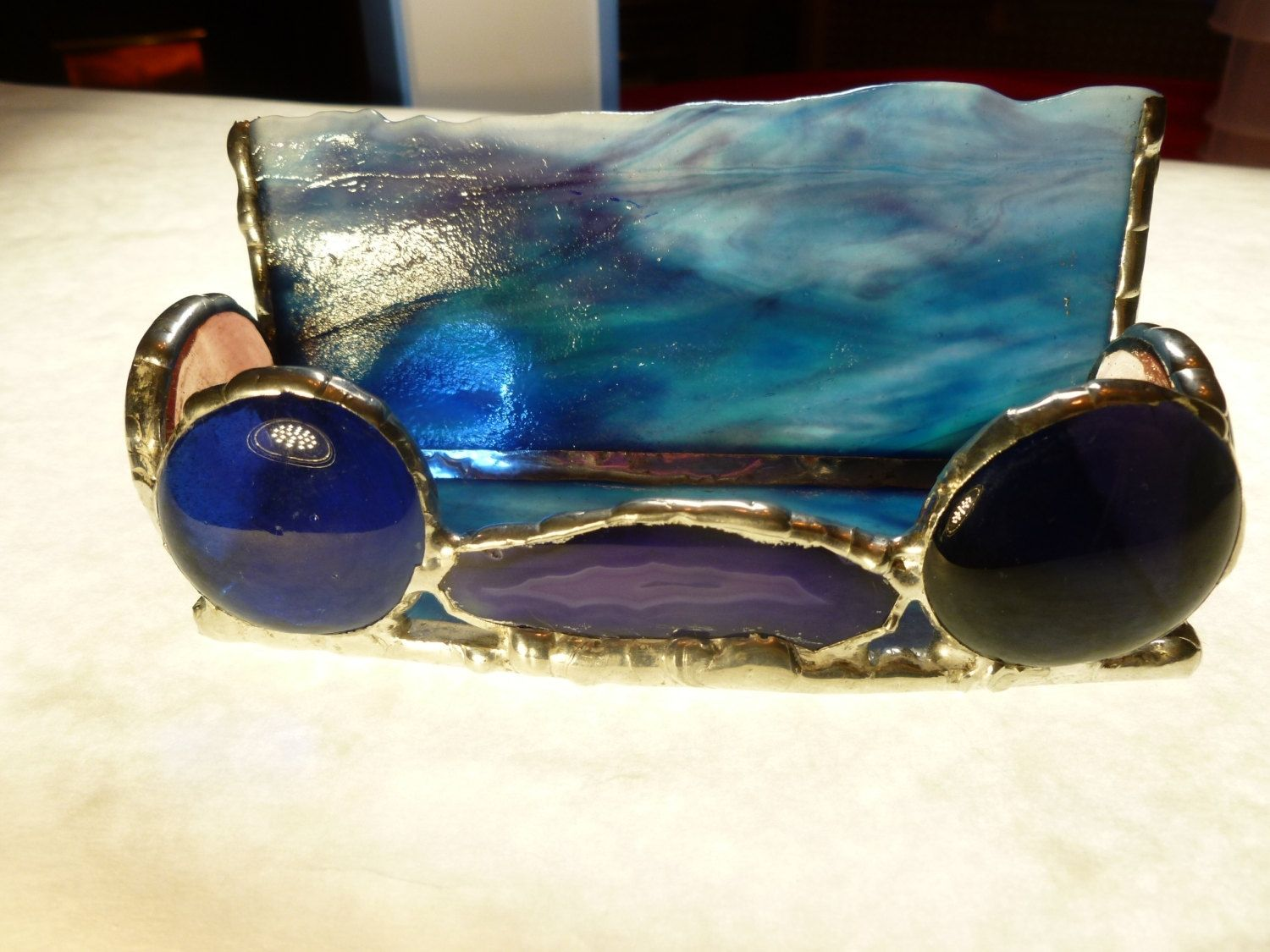 Hand Made Unique Blue And Purple Stained Glass Business Card Holder ...