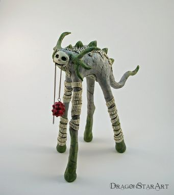 Custom Made Tall Green Dragon Beast Sculpture