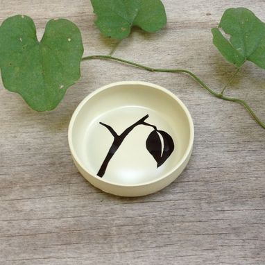 Custom Made Ring Holder, Jewelry Dish, Almond Color, Twig And Leaf