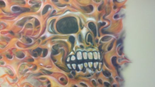 Custom Made Flaming Skull Wall Mural