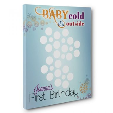 Custom Made Baby Cold Outside Birthday Guestbook Canvas Wall Art