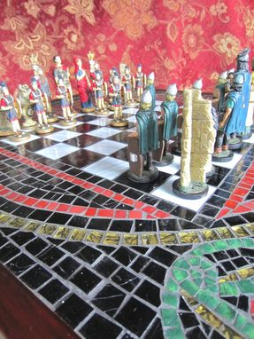Custom Made Chess Board Made With Art Glass Mosaic