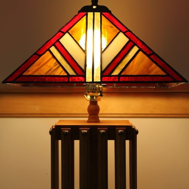 Hand Made Mission Style Lamp With Stained Gl Shade By Tobias