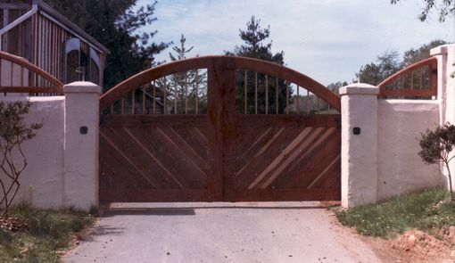 Custom Made Custom Mahogany Redwood Gates