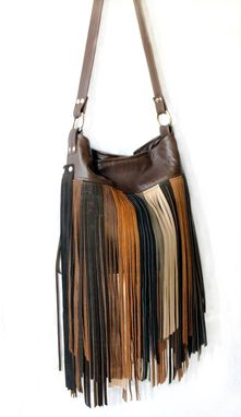 Custom Made Upcycled Leather Fringe Handbag - Multi-Colored - Browns