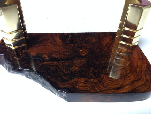 Custom Made Cocobolo Burl Super Rare Wood Handmade Business Card Holder 24k Gold Holder