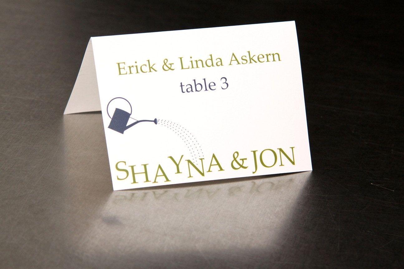 Handmade Wedding Place Cards - Garden Watering Can - Escort Cards ...