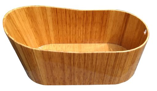 Custom Made Freestanding Oval Wood Bathtub In Bamboo - Single Slipper