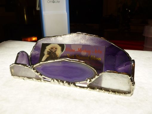 Custom Made Purple Stained Glass Cell Phone Dock With Agate