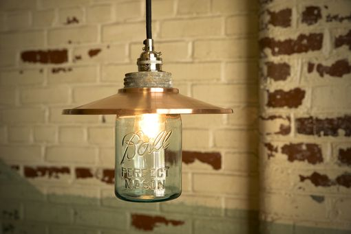 Custom Made Hand-Spun Copper Pendant Light With Vintage Mason Jar Globe