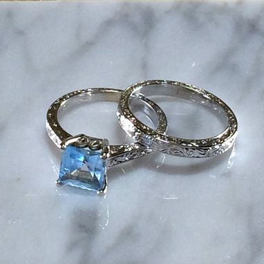 Custom Made Art Deco Aquamarine Wedding Set - Engagement Ring - Hand Engraved - 18k White Gold