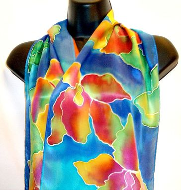 Custom Made Hand Painted Floral Silk Scarf