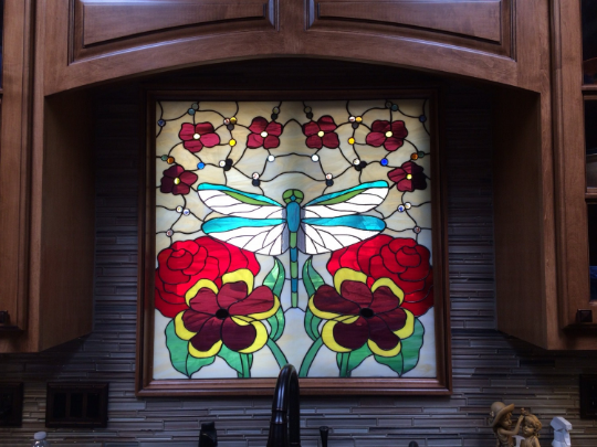 Hand Crafted Stained Glass Hanging Panel Iridescent
