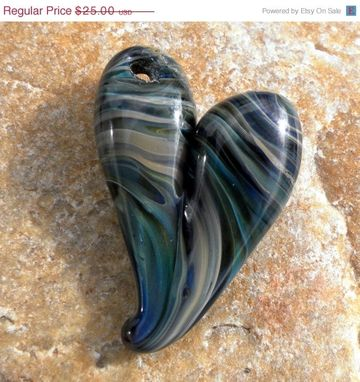Custom Made Hand-Blown Glass Heart Pendant In Amber, Green, And Purple