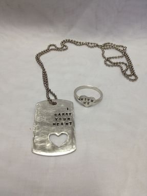 "Custom Made ""I Carry Your Heart""  Dog Tag And ""With Me"" Ring"