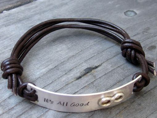 Custom Made Id Bracelet In Sterling Silver And Leather