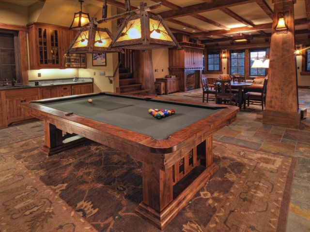 Hand Crafted Craftsman Style Claro Walnut Pool Table By