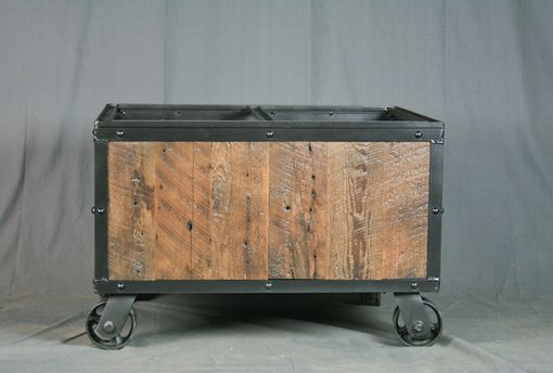 Custom Made Industrial File Cart. Reclaimed Wood & Casters. Rustic And Modern Office Furniture. Vintage.
