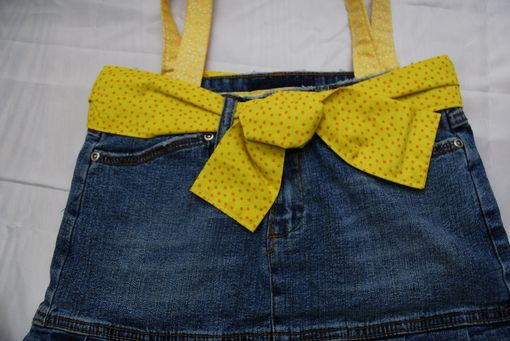 Custom Made Upcycled Yellow Blue Jean Skirt Bag