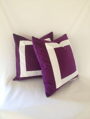 Custom Made Purple With White Ribbon Pillow Cover