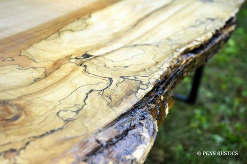 Custom Made Industrial Rustic Live Edge Bench
