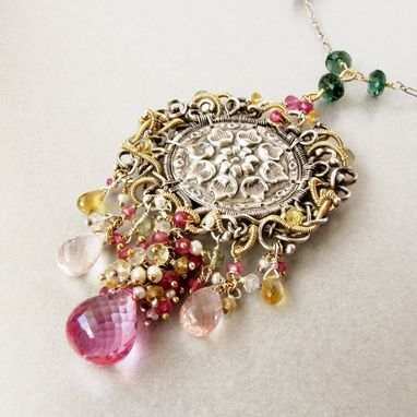 Custom Made Victorian Style Sterling And Fine .999 Silver And Gold Statement Necklace, Gemstones