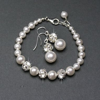Custom Made Bridal Jewelry Set, Pearl & Rhinestone Bracelet And Earrings
