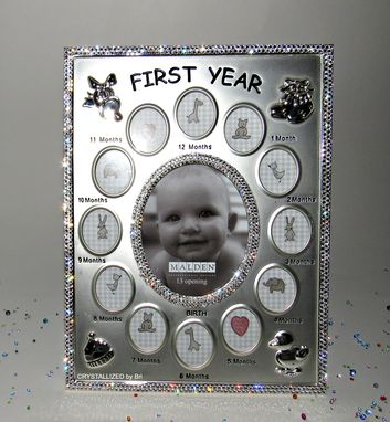 Custom Made Crystallized First Year Newborn Baby Photo Picture Frame Made With Swarovski Crystals