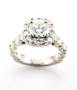 Custom Made Cushion Halo With Scalloped Side Diamonds