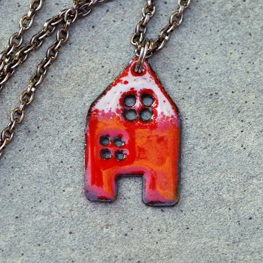 Custom Made House Pendant Copper Enamel Home Necklace Enameled Jewelry - Red White
