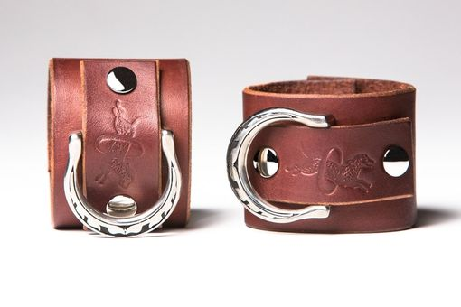 Custom Made Chestnut Leather Bondage Cuffs - Steel Rings - Ivy Motif- Nickel Fasteners