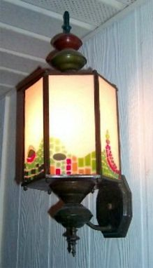 "Custom Made ""Gaudi"" - Fused Glass Panels For Wall Lantern"