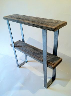 Custom Made Two Shelf Hall Table With Flat Steel Frame