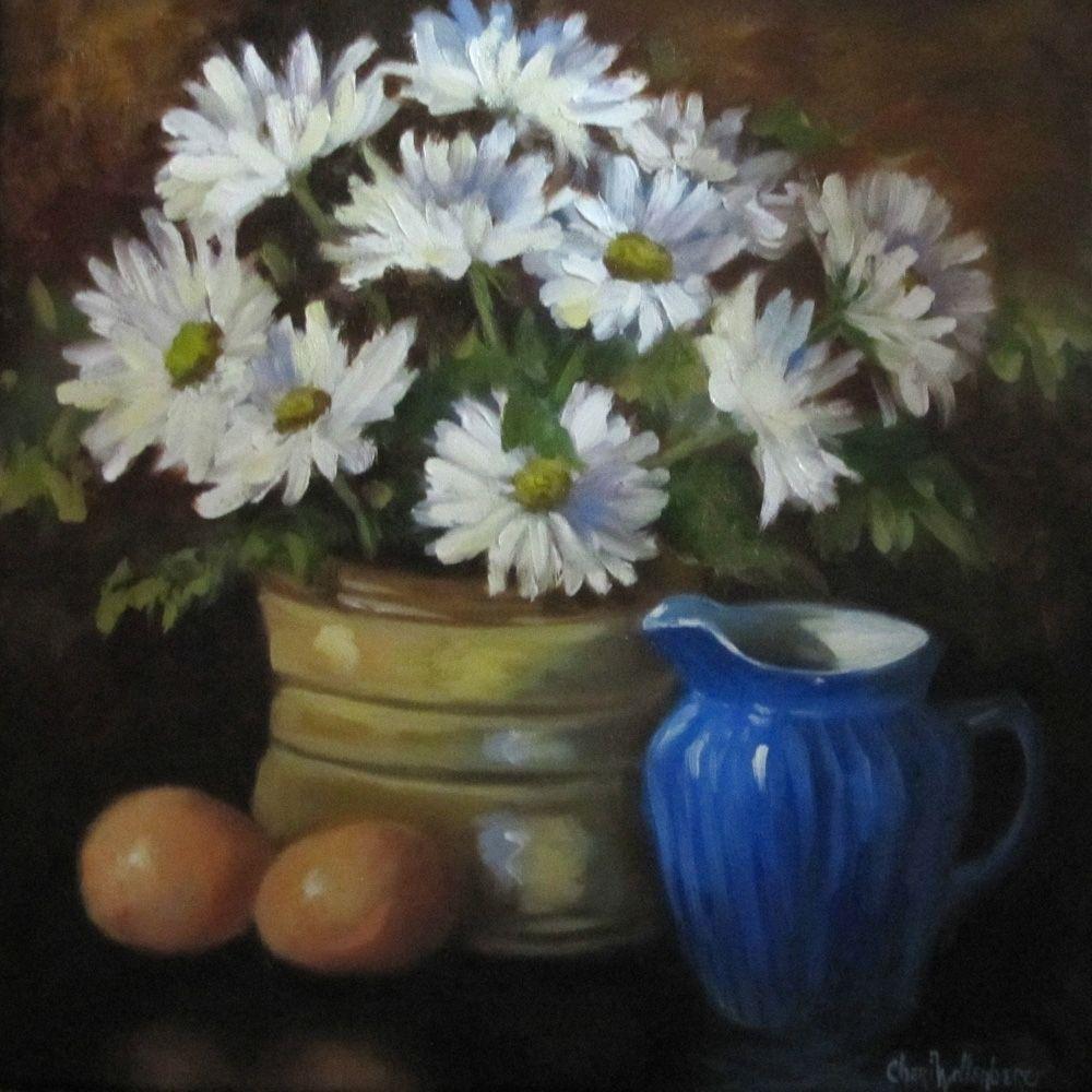 Custom Made Floral Daisy Still Life Painting
