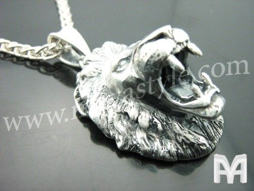 Custom Made Sterling Silver Roaring Lion Pendant