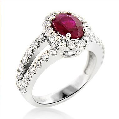 Custom Made Unique Halo Diamond And Ruby Engagement Ring In Platinum