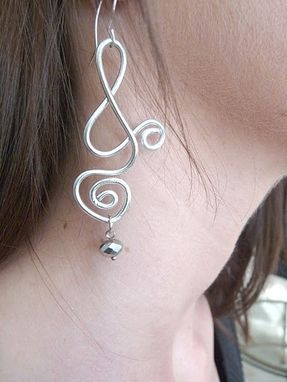 Custom Made Unusual Long Silver Wire Earrings