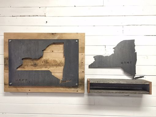 Custom Made New York Home State Steel On Reclaimed Wood Wall Decor