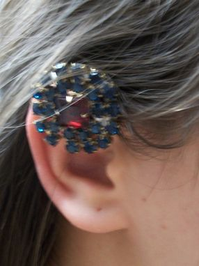 "Custom Made Blue Rhinestone Ear Cuff ""Lexie''"
