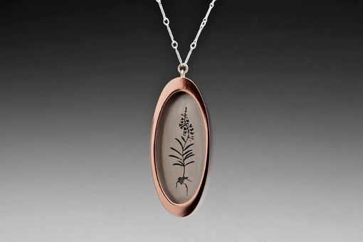 Custom Made Fireweed Shadowbox Necklace, Silver And Copper