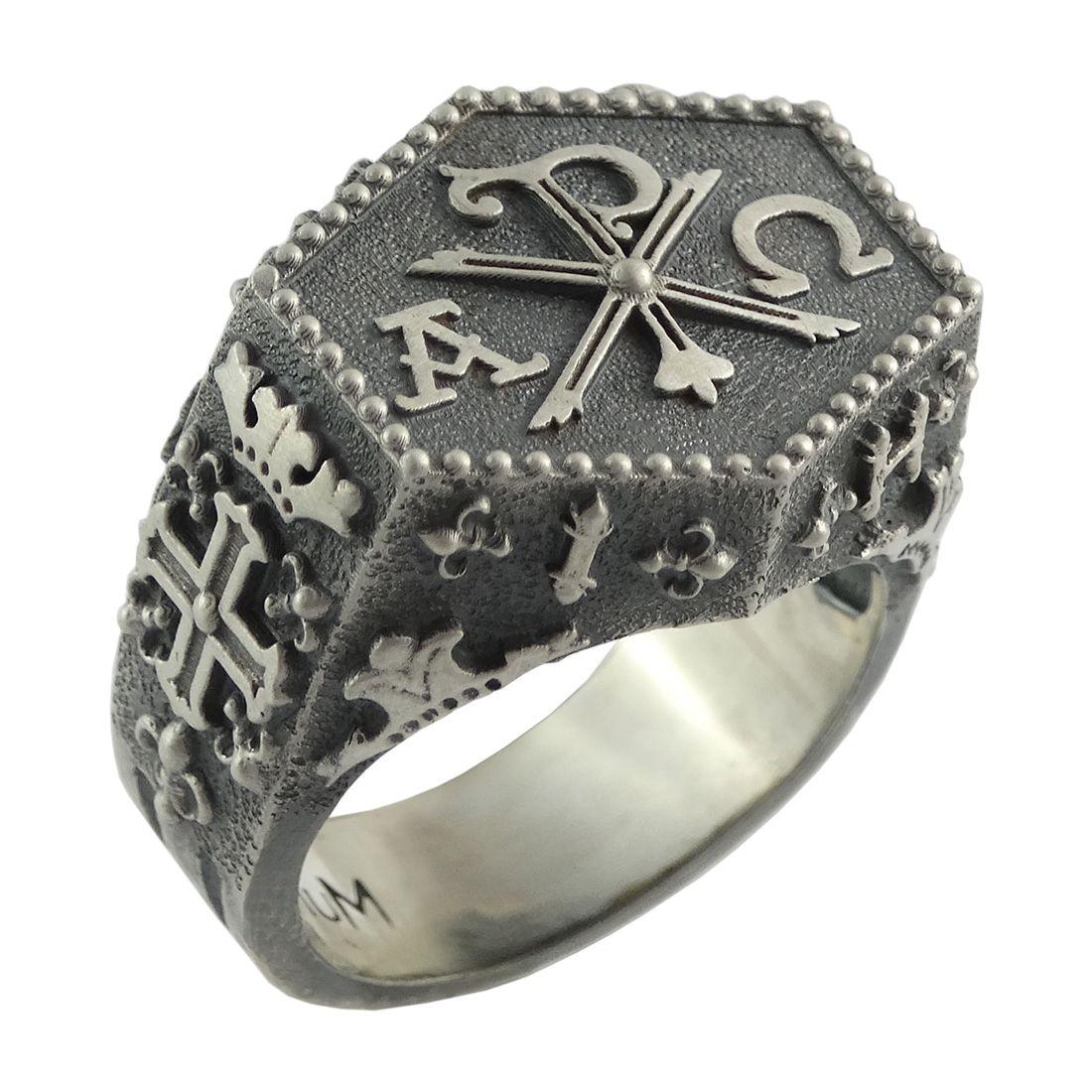 253ccc631d8 Knights Templar Ihsv Masonic Chi Rho Silver Ring Cross Of Constantine Us  Sizes by Secretium Ltd
