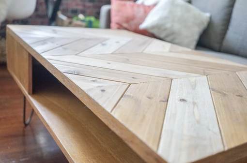 Custom Made Chevron Coffee Table