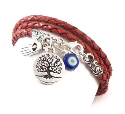 Custom Made Wrap Bracelet With Protection Charms