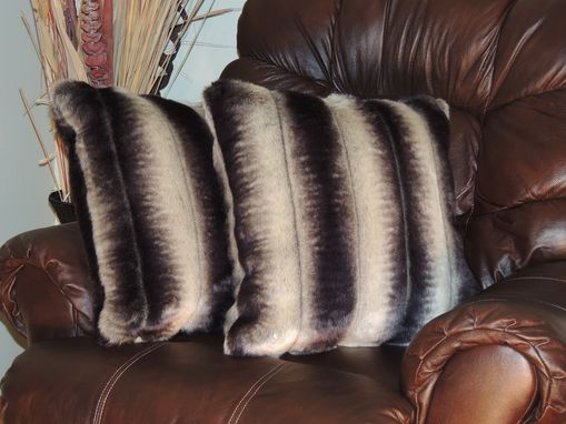 Custom Made Sheared Chinchilla Silver Grey Faux Fur 18 X 18 In. Decorative Pillow - Set Of 2