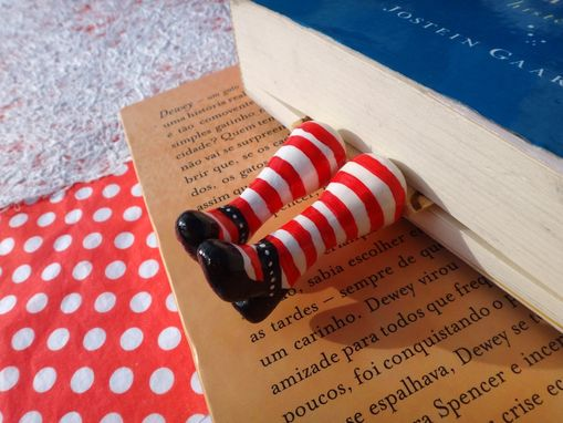Custom Made Legs In Your Book - Marmelada Bookmark - Red And White Socks