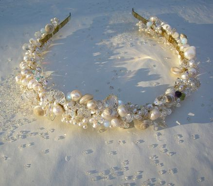 Custom Made Sea Queen - Bespoke Pearl, Crystal, And Seashell Heirloom Headband