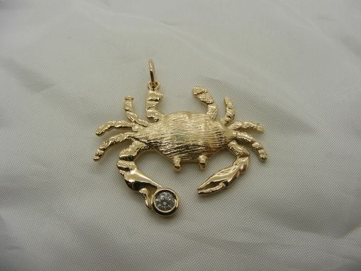 Custom Made Diamond And Gold Crab Pendant